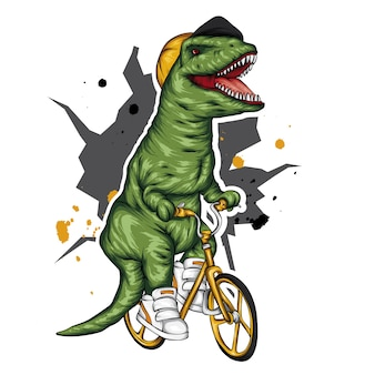 Dinossauro legal em uma bicicleta.