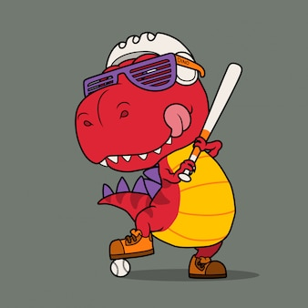 Dinossauro legal jogando beisebol.