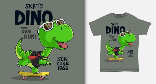 Dinossauro legal jogando skate. com design de t-shirt.