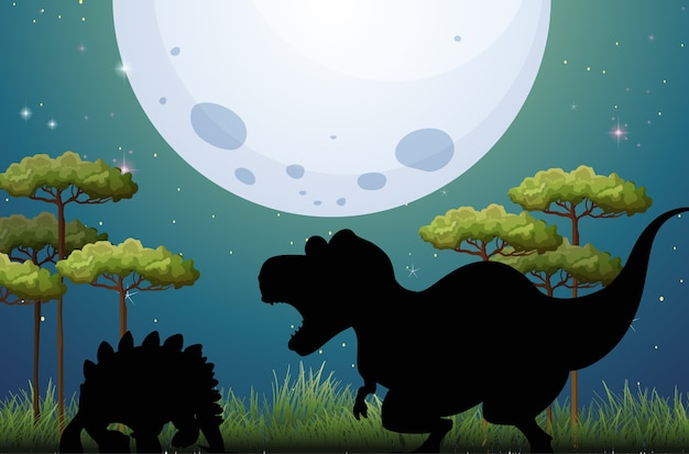 Dinossauro na silhueta da cena da natureza
