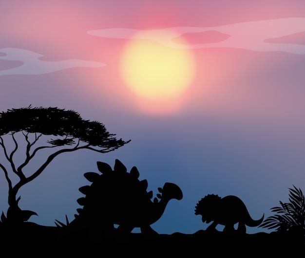 Dinossauro no fundo da natureza
