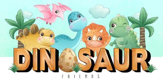 Dinossauro pequeno bonito com coleção aquarela