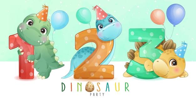 Dinossauro pequeno bonito com numeração coleção
