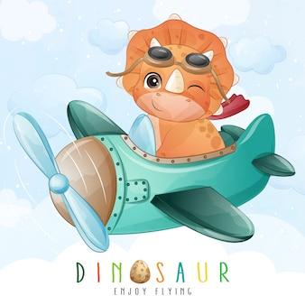 Dinossauro pequeno bonito voando com ilustração de avião