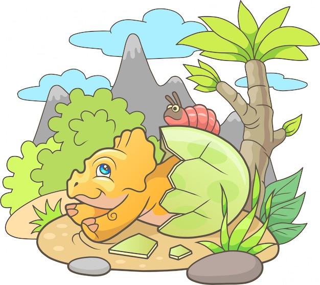 Dinossauro recém-nascido fofo