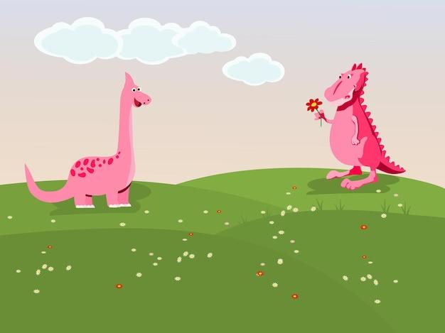 Dinossauro rosa dando flores para um dinossauro fêmea em um prado com o céu ao fundo.