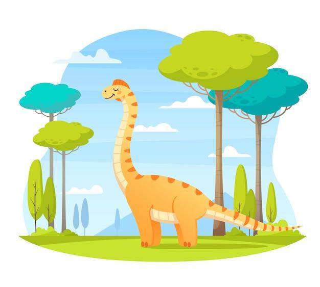 Dinossauro sorridente na ilustração de desenho animado da natureza