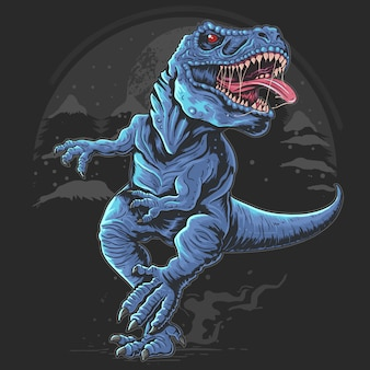 Dinossauro t-rex funciona e monstro selvagem de animal na noite escura