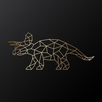 Dinossauro triceratops poligonal dourado com chifres
