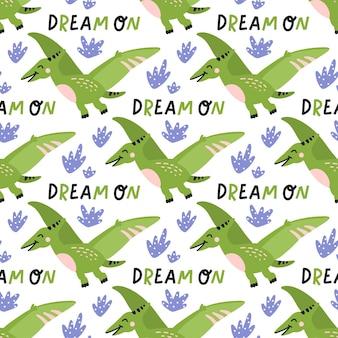 Dinossauro verde com folhas azuis e ilustração de padrão sem emenda de texto dream on em fundo branco