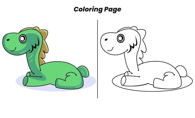 Dinossauro verde fofo descansando com páginas para colorir