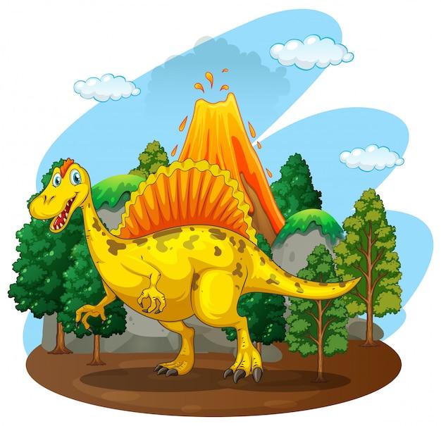 Dinossauro, vivendo, em, a, floresta