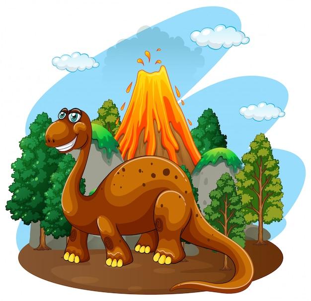Dinossauro, vivendo, em, a, selva