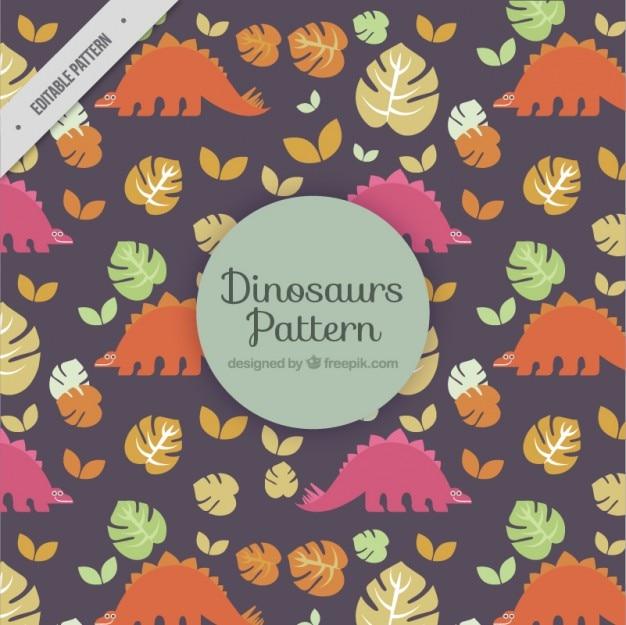 Dinossauros agradáveis com folhas padrão