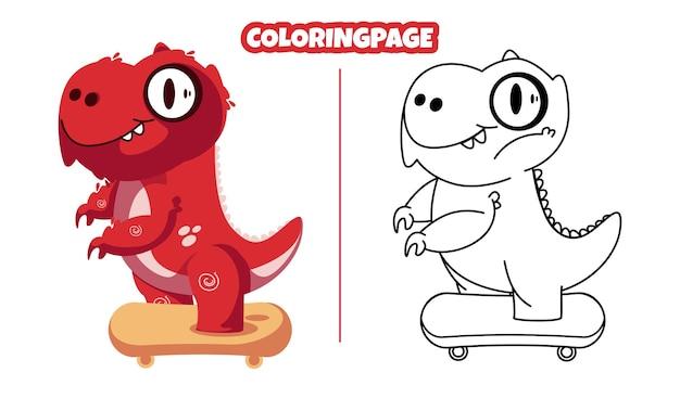 Dinossauros andando de skate com páginas para colorir