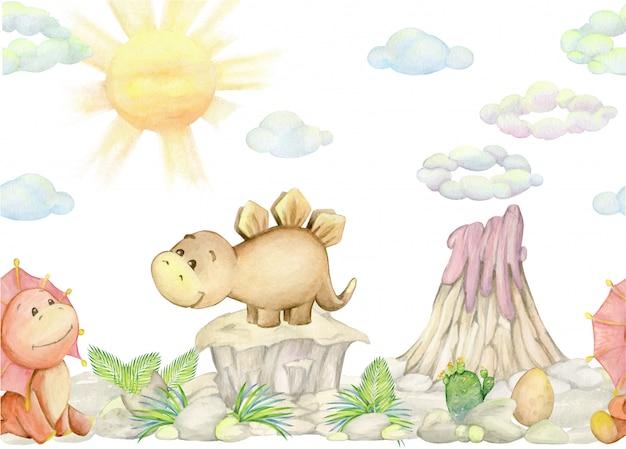 Dinossauros bonitos, vulcão, plantas. ilustração em aquarela