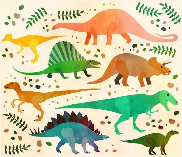 Dinossauros coloridos do vetor