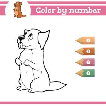 Dinossauros colorindo por números para colorir página para crianças pré-escolares aprender números para jardins de infância
