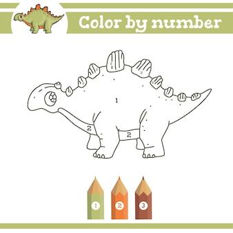 Dinossauros colorindo por números para colorir página para crianças pré-escolares aprender números para jardins de infância Vetor Premium