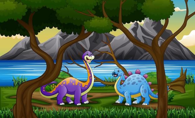Dinossauros de desenho animado na selva