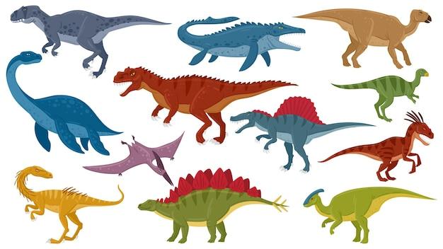 Dinossauros de desenhos animados, raptores dinossauros jurássicos extintos, herbívoros predadores. réptil de dinossauros jurássicos, tiranossauro, estegossauro, conjunto de ilustração vetorial de pterodáctilo. raptor e réptil, dinossauro jurássico
