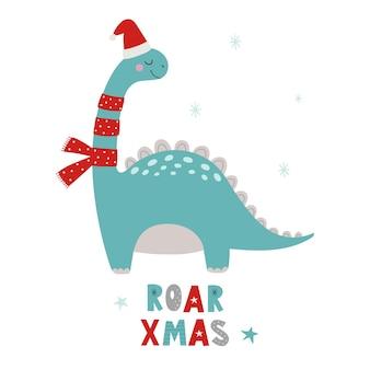 Dinossauros de natal roar xmas dino xmas ilustração em vetor de personagem engraçada no estilo cartoon