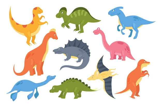 Dinossauros definem coleção de paleontologia colorida de monstros animais pré-históricos