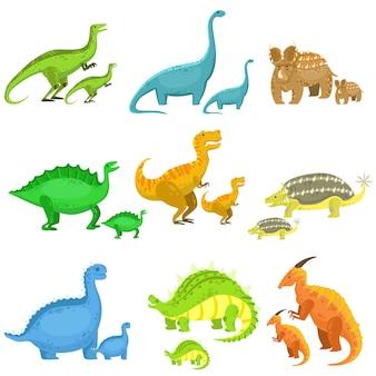 Dinossauros diferentes em pares de grandes e pequenos Vetor Premium