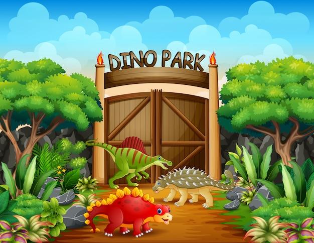 Dinossauros diferentes na ilustração do parque de dino