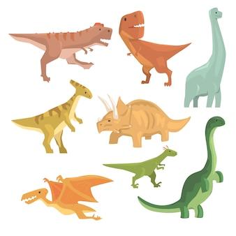 Dinossauros do período jurássico coleção de répteis gigantes extintos pré-históricos dos desenhos animados animais realistas