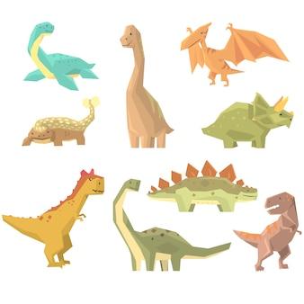 Dinossauros do período jurássico conjunto de répteis gigantes extintos pré-históricos dos desenhos animados animais realistas.
