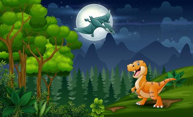 Dinossauros dos desenhos animados, brincando na paisagem noturna