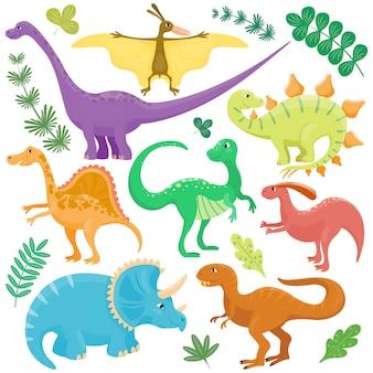 Dinossauros dos desenhos animados.