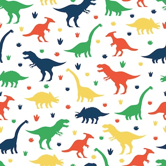 Dinossauros e pegadas dos desenhos animados padrão sem emenda em um fundo branco para papel de parede, embalagem, embalagem e pano de fundo.
