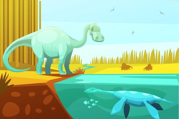 Dinossauros e tartaruga pré-histórica de animais de desenho animado para crianças