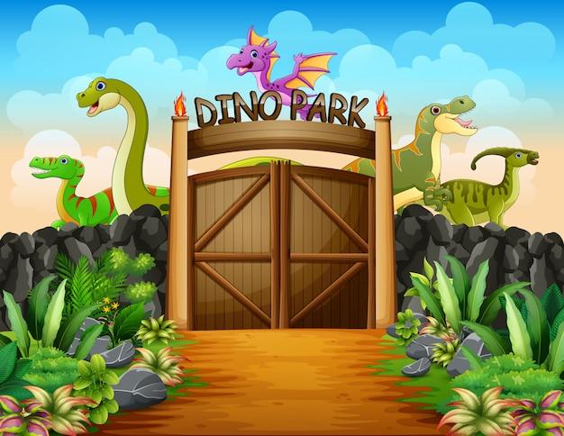 Dinossauros em uma ilustração do parque dino