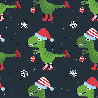 Dinossauros engraçados de natal, padrão sem emenda.