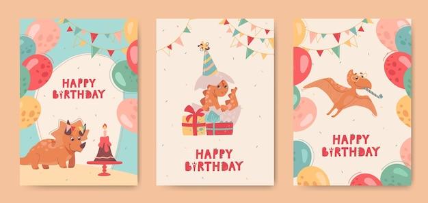 Dinossauros engraçados em cartões de aniversário para crianças