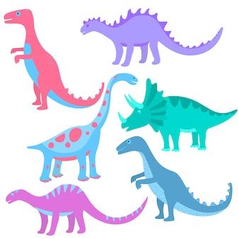 Dinossauros engraçados mão desenhada. conjunto de desenhos animados dino.