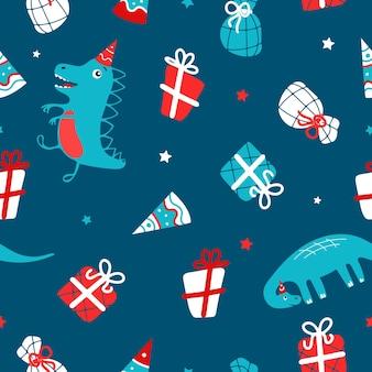 Dinossauros engraçados presentes de chapéu de festa para aniversário de natal ano novo ilustração em vetor dos desenhos animados