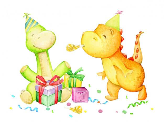 Dinossauros engraçados, se divertindo, comemorando, aniversário. aguarela