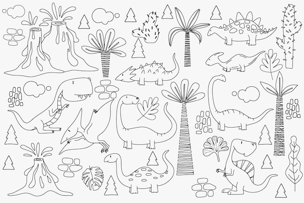 Dinossauros fofos e plantas tropicais