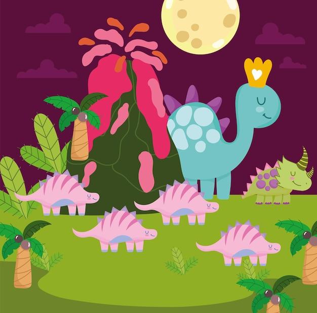 Dinossauros fofos em cena pré-histórica