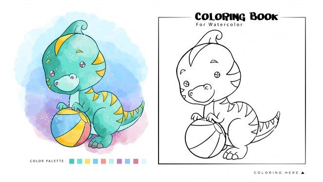 Dinossauros fofos jogando uma bola, ilustração dos desenhos animados para livro de colorir em aquarela