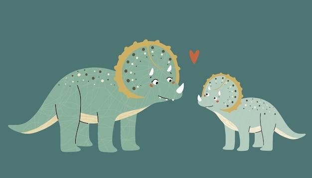 Dinossauros fofos, mãe e bebê. era pré-histórica. ilustração infantil.