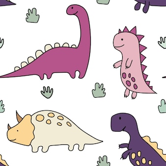 Dinossauros fofos plantas tropicaisfunny cartoon dinosaurs seamless pattern