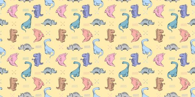 Dinossauros handrawn doodle sem costura padrão fundo papel de parede