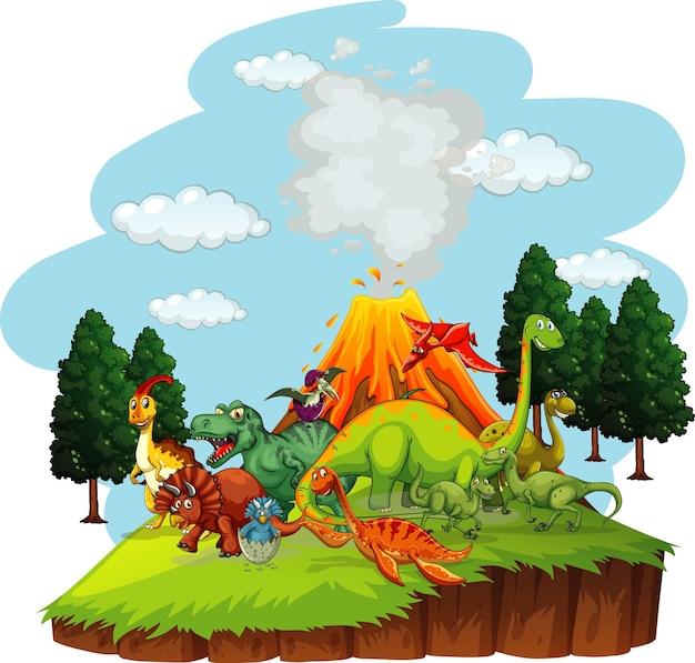 Dinossauros personagem de desenho animado em cena da natureza