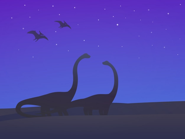 Dinossauros, saurópodes e pterodácteis à noite