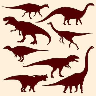 Dinossauros, silhuetas de vetor de répteis fósseis